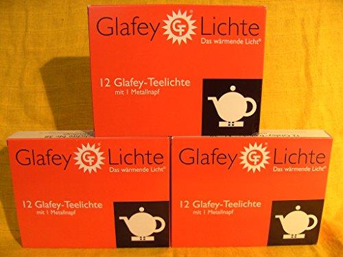 Glafey Teelichter Nr.38,12er Pack + EIN Odeon Napf, Brenndauer 8 Stunden, Gastronomie, Teelichte, Wachs