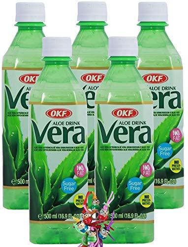 yoaxia ® - [ 5x 500ml ] OKF SUGAR FREE Aloe Vera King Getränk / Aloe Vera Drink + ein kleines Glückspüppchen - Holzpüppchen