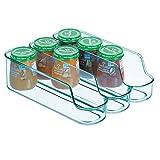 mDesign geteilter Aufbewahrungsbehälter für Babynahrung – kleine Flaschenaufbewahrung mit 3 Fächern – offener Vorratsbehälter für Lebensmittel, Pflegeprodukte und Spielzeug – meerblau