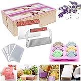 UHAPEER Paquete de Juego de herramientas para cortar jabón, caja de madera rectangular con molde para pan de silicona, película retráctil, cortadora de cuchilla