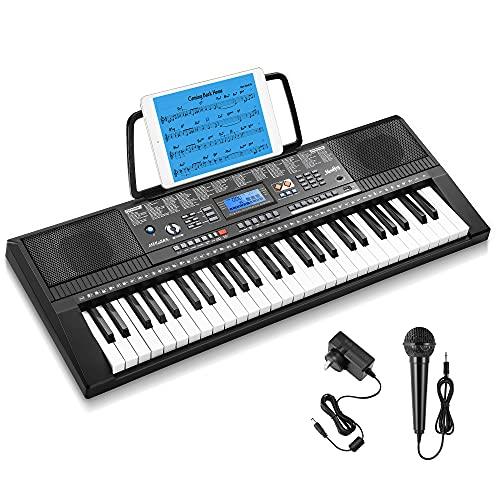 Moukey Kit de Teclado Piano Eléctrico 54 Teclas, Teclado de Piano Digital...