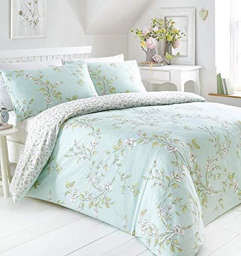 Portfolio Yasmina Duvet Cover Reversible Bed Set Linen, Duck Egg, Double