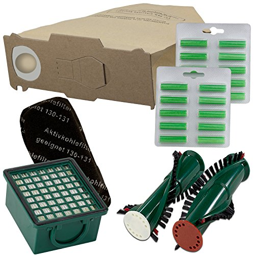 Wamos | 20 Staubsaugerbeutel Filterset Rundbürsten Duft geeignet für Vorwerk Kobold Vk 130 131 131 Sc Eb 350 351