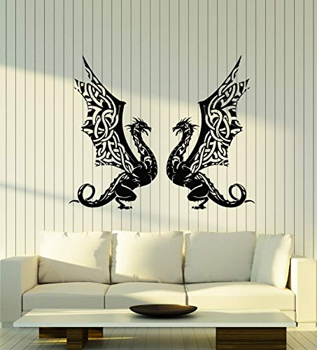Vinyl Wall Decal Celtic Dragons Fantasy Myth Monster Animal Stickers Mural Large Decor (g2181) Black
