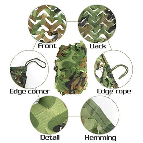Green 6 * 6M(19.7 * 19.7FT) Camo Netting Hunting Camouflage Nets Woodland Army Camping Sun Shelter Tent Shade Net,Car Awning Shelter Garden Tree House (Color : Green, Size : 7 * 7M(23 * 23ft))