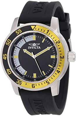Invicta Men's Specialty 45mm Stainless Steel Quartz Watch with Black Silicone Band, Black/Yellow (Model: 12846)