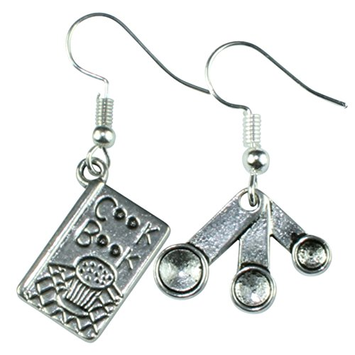 The Funky Barcode BAKERS KITCHEN COOK BOOK & SPOONS DANGLE EARRINGS Gift Box Available