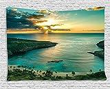 Ambesonne Hawaiian Tapestry, Sunrise over Hanauma Bay Oahu Hawaii Sunbeams Through Clouds Shoreline, Wide Wall Hanging for Bedroom Living Room Dorm, 80' X 60', Green Orange