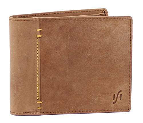 Starhide RFID Blocking Portafoglio da uomo, marrone/rosso, vera pelle con effetto anticato, porta carte di credito, documenti e portamonete, in confezione regalo–1055 Marrone Brown