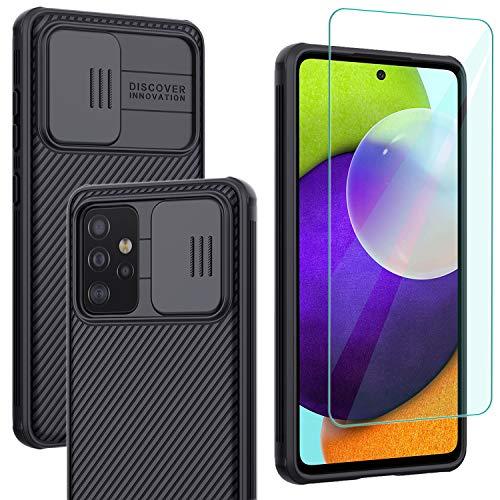 Yohii Funda Compatible con Samsung Galaxy A52 4G/5G + Cristal Templado Protector Pantalla, Protección de la cámara Cubierta Rígida PC Anti-Golpes Protectora Caso, Case para Samsung Galaxy A52 - Negro