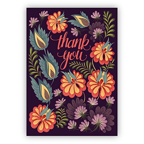 Prachtige elegante bloemen bedankkaart/bedankkaart: Thank you