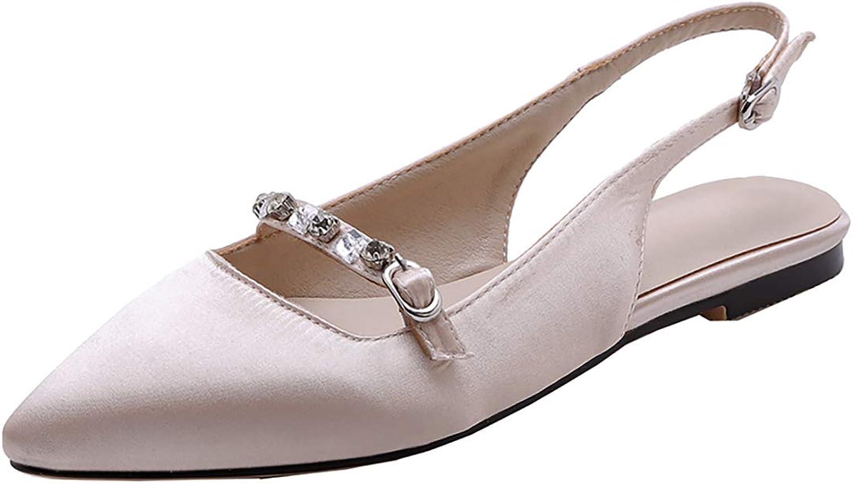 Artfaerie Womens Satin Pointed Toe Flats Pumps Slingback Low Heels Rhinestone shoes