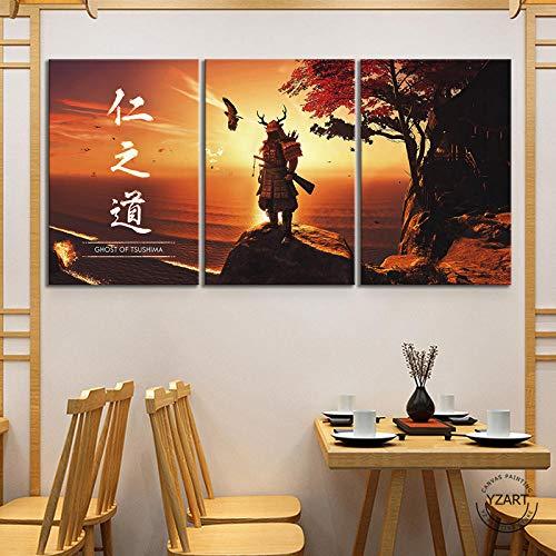 ZGZART Póster del Juego Ghost of Tsushima, Pinturas de Arte, Estilo japonés, Samurai, Paisaje, póster de Juego, Pinturas, Lienzo, Pintura de Arte de Pared, 50 x 70 cm x 3 (sin Marco)