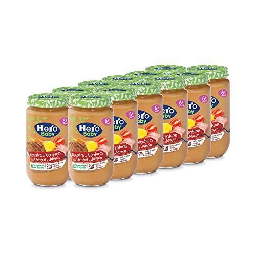 Hero Baby Tarritos de Menestra de Verduras con Ternera y Jamón - Para Bebés a Partir de 6 Meses - Pack de 12 x 235 g