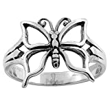 Sterling Silver Butterfly Ring for Women 5/8 inch Size 9 1/2