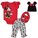 Disney Minnie Mouse Baby Girls Layette Set: Bodysuit Pants Hat Bib Red 6-9 Months
