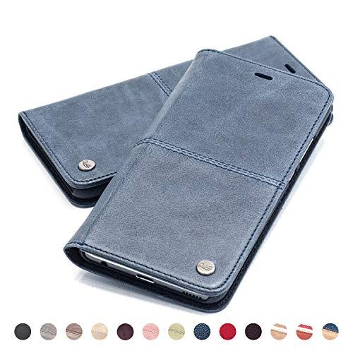 QIOTTI Hülle Kompatibel mit iPhone XS iPhone X Ledertasche aus Hochwertigem Leder RFID NFC Schutz mit Kartenfach Standfunktion (Smart Blue)