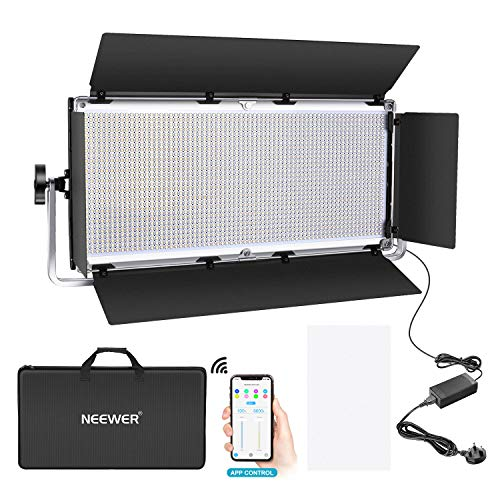 Neewer Professional 1904 LED Video Light with APP Intelligent Control System, Dimmable Bi-Color 3200K-5600K Photography…