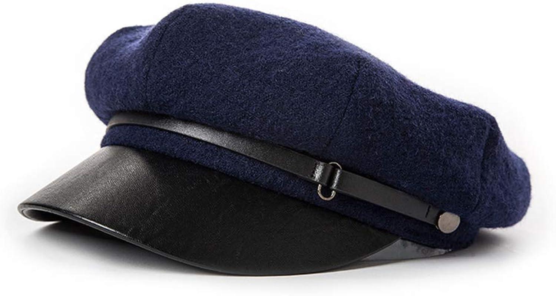 Beret, Female Autumn and Winter England Retro Casual Octagonal Cap,Black