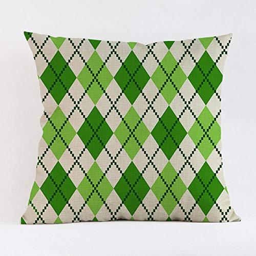 JIAORLEI With Pillow & Cushion Innercreative Fresh Lucky Green Clover Leaf Cushion Cover Geometric Linen Pillow Cover Modern Nordic Irish Sofa Chair Throw Pillows-45X45Cm