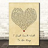 I Just Can't Wait to Be King Vintage Heart Song Lyric Print