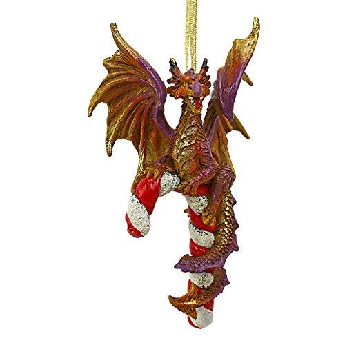 Design Toscano QS94145 Ornement De Noël - Candy Cane et Abel Dragon 2017 Ornement de vacances - Statue de dragon