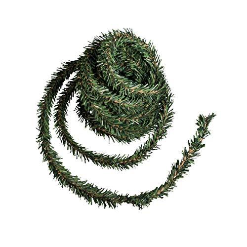 Rayher 55872000 Mini-Tannengirlande auf Draht, Beutel 3 m, Breite 2 cm, künstliche Weihnachtsgirlande zum Basteln und Dekorationen