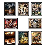 Attack on Titan Posters Eren Mikasa Levi Erwin Reiner Armin AoT Poster Wall Art 8 x 10 Inches Shingeki no Kyojin Canvas Prints for Decors Set of 8 Packs Unframed