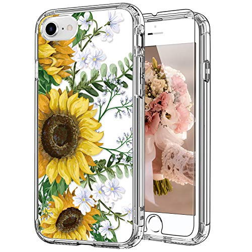ICEDIO iPhone SE Case 2020,iPhone 8 Case,iPhone 7 Case with Screen Protector,Clear with Nice Sunflowers Floral Patterns for Girls Women,Shockproof Protective Phone Case for Apple iPhone 7/8/SE2