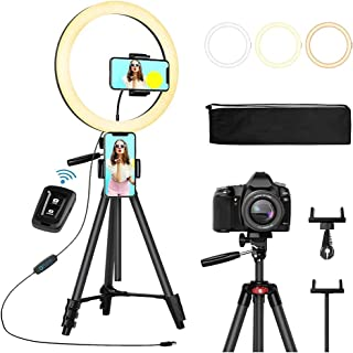 """12"""" Selfie Ring Light with Tripod Stand 2 Phone Holders and Bluetooth Remote Shutter Compatible with iOS Android,Finesky D..."""