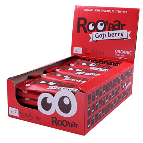 Roobar Goji Berry 100% Organic Vegan Raw Bar with Superfoods for Optimum Nutrition. Dairy & Gluten Free, No Added Refined Sugar - 20 x 30g Raw Bars