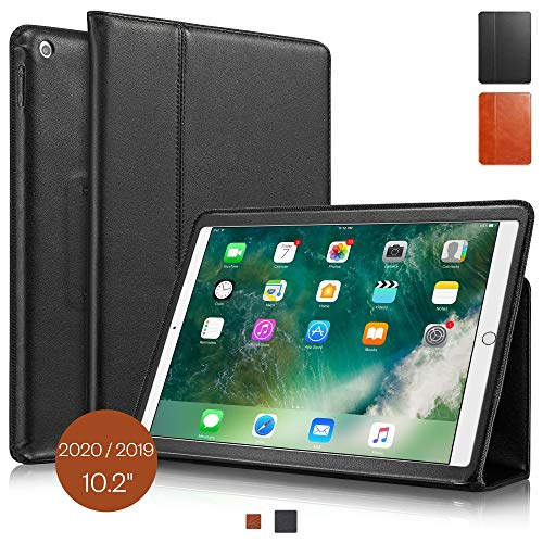 KAVAJ Case Leather Cover'Berlin' works with Apple iPad 2019 10.2' Black Genuine Cowhide Leather with Built-in Stand Auto Wake/Sleep Function. Slim Fit Smart Folio Covers