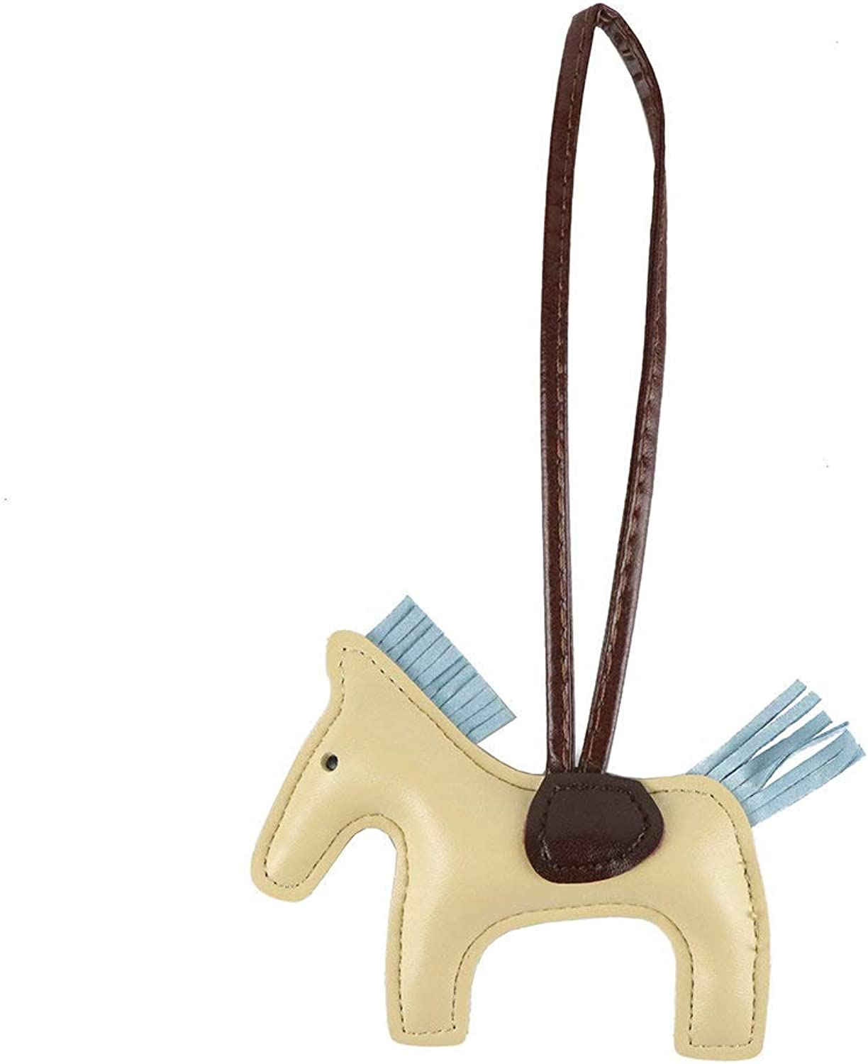 Jzcky Shzrp Horse Pu Leather Keychain Bag Charm Handbag Accessories Gift(Apricot)