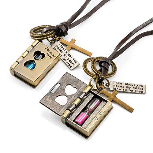 2 piezas Colgantes de cadena con un reloj de arena que se puede abrir,collares carta de amor para parejas mujer,collar amistad Haslkette con grabado Forver Love, joyería para socios regalos bff amigos