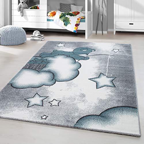 HomebyHome Kinderteppich Kurzflor Teddy Bear Babyteppich Kinderzimmer Babyzimmer Grau Weiss Blue Meliert, Größe:160 cm Rund