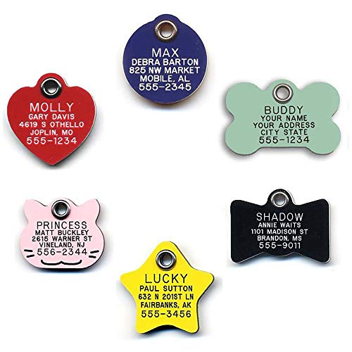 LuckyPet Durable Plastic Pet ID Tag, Outlasts Aluminum Tags for The Same Price, Custom Engraved, Small Pink Cat