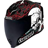 Icon Airflite Skull 18 - Casco integral para moto, color negro brillante