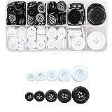300Pcs Botones Costura, Snaps Plastico Blanco y Negro, Botones Manualidades de...