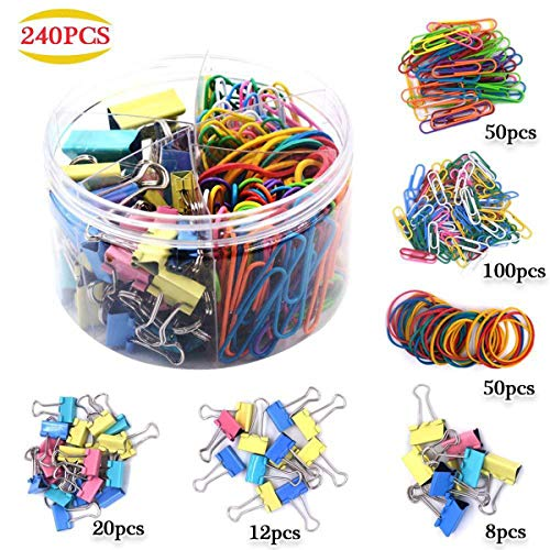 240 Pcs Binder Clips Paper Clips Rubber Bands Paper Clamps Long Tail Clip Assorted Paper Binder Clips Metal Mini Small Medium Jumbo Binder Clips Fold Back Clips with Box for Office School (3 Sizes)