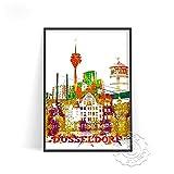 linbindeshoop Cartel de impresión de Acuarela de Ciudad Moderna Venecia Alemania Arte de Pared Las Vegas Estocolmo Budapest Cartel de impresión Sydney Londres Viajes(LT-1529) 40x60cm Sin Marco