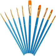 Lictin 10 Pieces Artist Paint Brushes Set Multifunctional Nylon Paint Brushes, Plastic, Sky Blue Art Painting Supplies for Acrylic and Oil Painting(Blue)