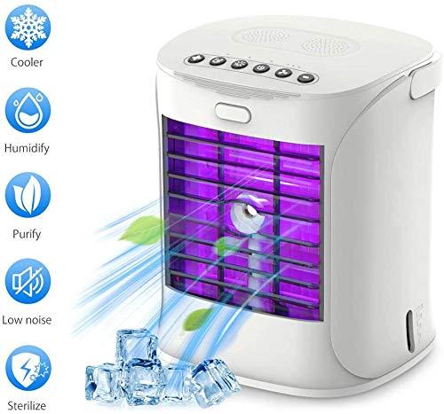 SQSLAY Tragbare Klimaanlagen-Ventilator, Personal Desktop Lüfter Mini Muten Luftreiniger Luftbefeuchter Evaporative Luftkühler mit Griff und UV-Desinfektion für Schlafzimmer, Haus, Auto, Büro