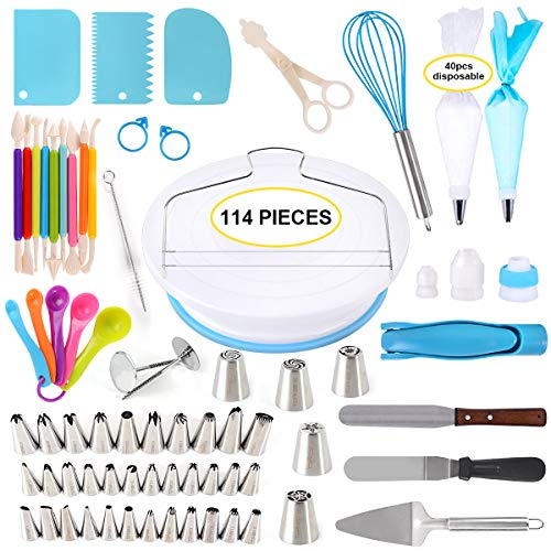 114 Pieces Cake Decorating Supplies Kit for Beginners, Cupcake Decorating Tools Baking Supplies Set for Kids and Adults, Cake Turntable Stands, Piping Tips & Bags, Icing Smoother & Spatulas