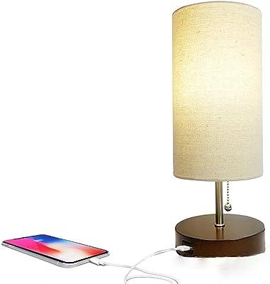 Lampe de chevet avec chargement USB, lampe de chevet avec abat-jour en tissu en lin, convient pour salon, chambre à coucher, chambre d'enfant