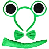 Skeleteen Frog Costume Accessories Set - Plush Green Frog Eyes Headband, Bowtie and Tail Toad Accessory Kit for Kids and Toddlers