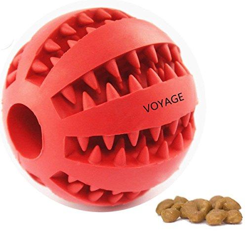 Hundespielzeug Ball von Voyage aus Naturkautschuk | Spielzeug für Hunde | Robuster Natur-Gummi Hundeball für Leckerli mit Dental-Zahnpflege-Funktion mit Noppen und Loch für Leckerli.(rot)