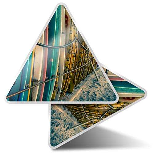 2 pegatinas triangulares de 10 cm – tablas de surf surf playa mar pegatinas divertidas para portátiles, tabletas, equipaje, reserva de chatarra, nevera #2470