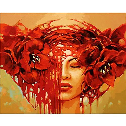 YAXIANXU Pintura por Números para Adultos Y Niños Principiante para ,con Pinceles Y Pinturas Se Puede Utilizar como Regalo Y Decoración del Hogar-Belleza De Maquillaje Rojo 40 X 50 Cm Sin Marco