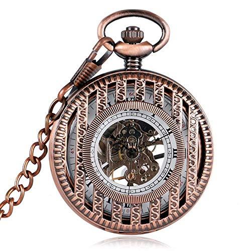 QULONG Reloj de Bolsillo Diseño de Rayas de Oro Rosa Cuerda Manual Relojes de Bolsillo mecánicos para Hombres Mujeres Padre Madre Reloj Colgante Retro Regalos Cadena de artículos