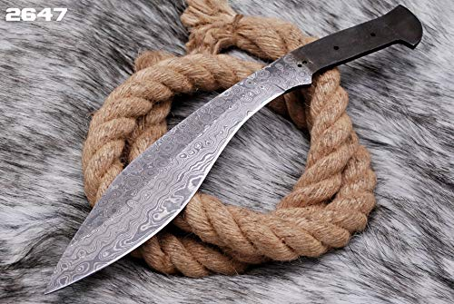 Custom Hand Forged Damascus Steel Hunting Kukri Blank Blade Skinner Knife AJ-2647